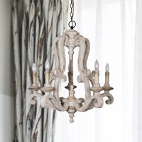 Parrot Uncle Antique Wooden Candle Style Chandelier With Distressed Antique White Finish