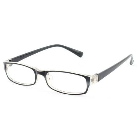 Plastic Full Rim Rectangle Lens Plain Eyeglasses Plano Glasses Black (Plain Lense Glasses)