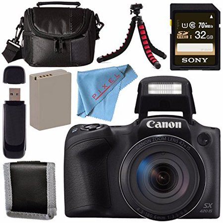 Canon PowerShot SX420 IS Digital Camera (Black) 1068C001 + NB-11L Lithium Ion Battery + Sony 32GB SDHC Card + Card Reader + Small Case + Memory Card Wallet Bundle