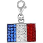 Doma Jewellery MAS00298 Sterling Silver and Crystal Charm- France Flag