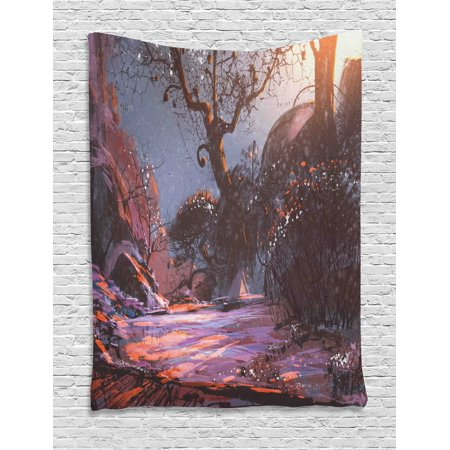 Winter Tapestry, Heaven Like Landscape Mystery Forest Rising Sun Oil Paint Style, Wall Hanging for Bedroom Living Room Dorm Decor, 60W X 80L Inches, Light Pink Orange Dark Brown, by (Light That Makes Room Look Like Forest)