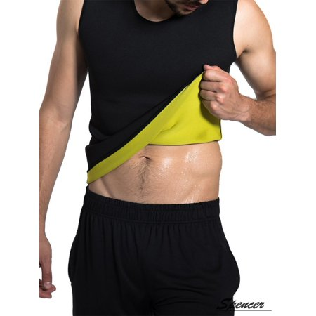 Swat Vest For Halloween (Spencer Neoprene Men's Body Shaper Sweat Sauna Vest Tummy Fat Burner Slimming Shapewear Weight Loss Tank Top