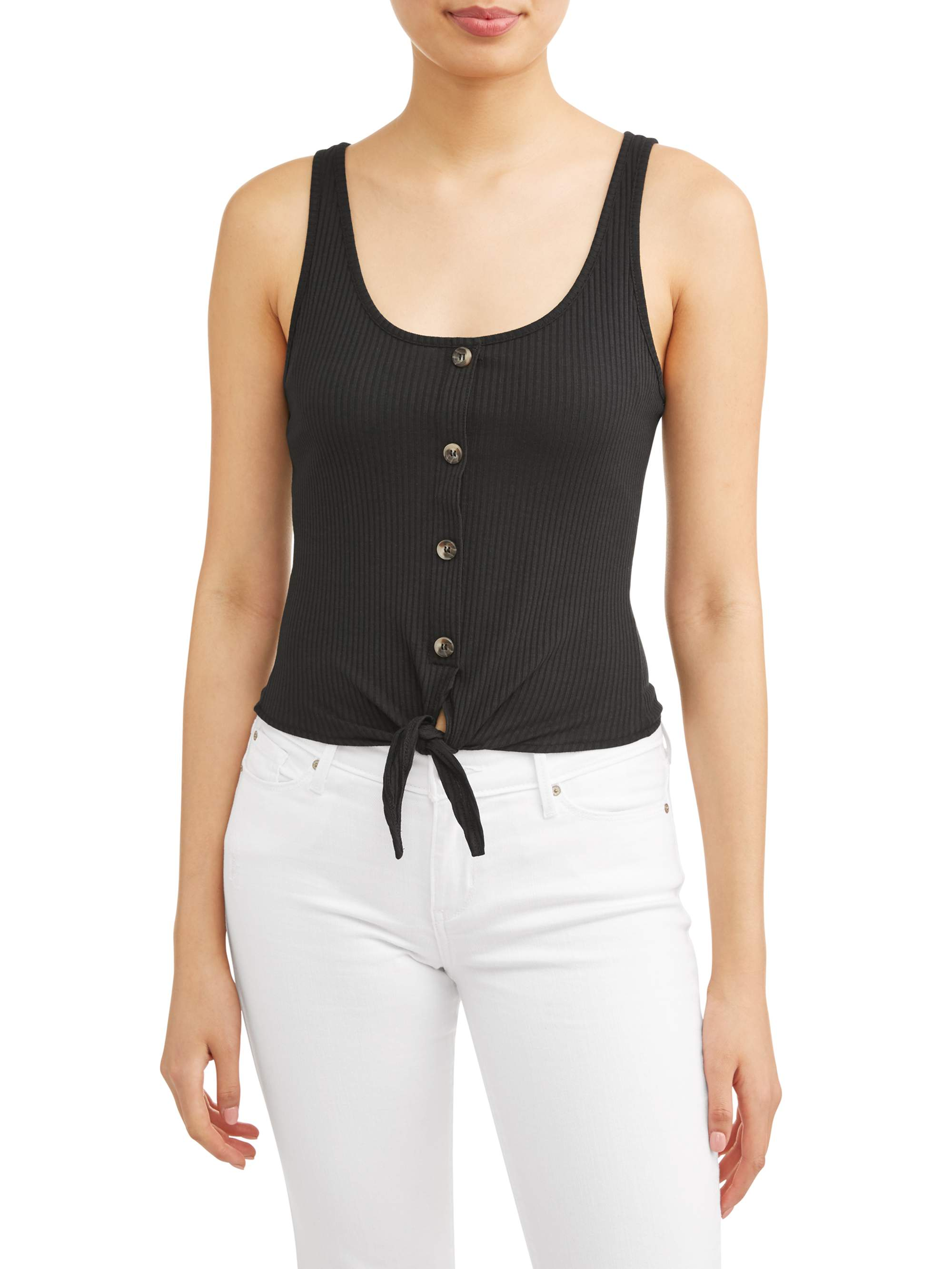 ff42671f948 Eye Candy - Juniors  Button Tie Front Rib Knit Tank - Walmart.com