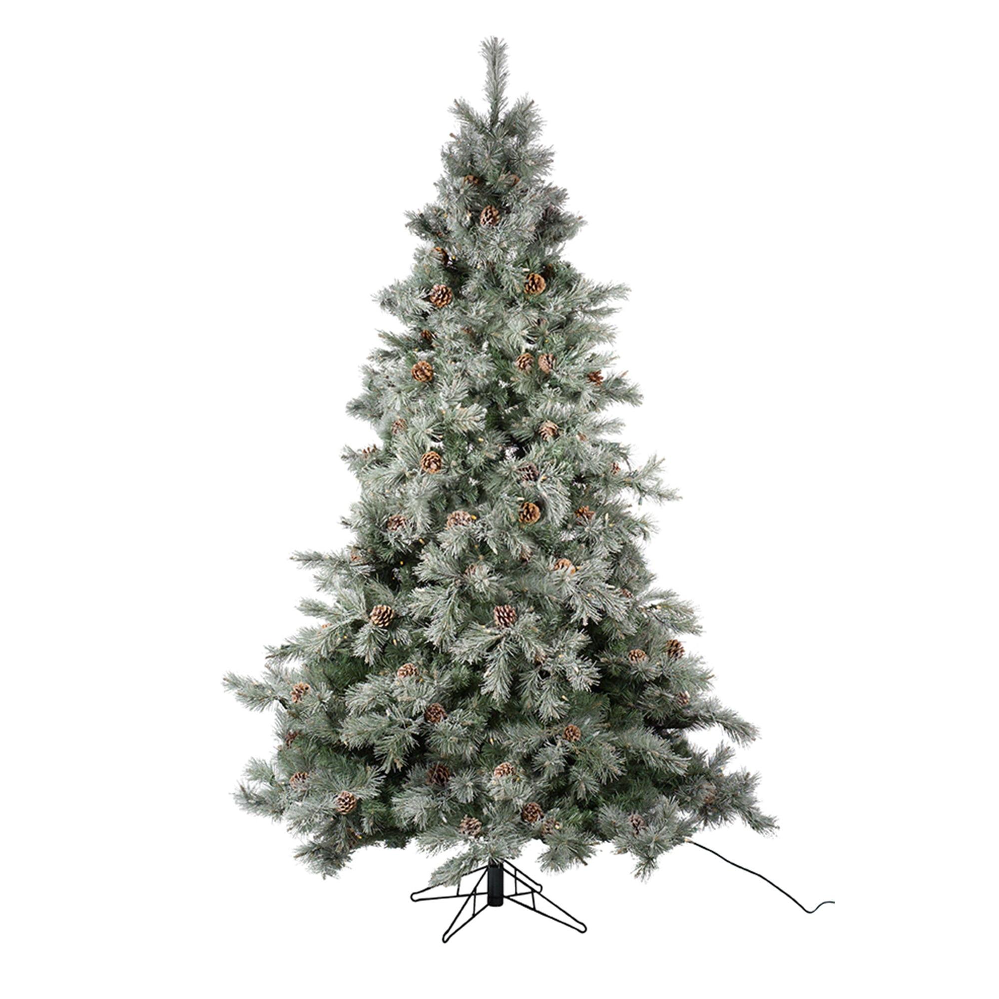 7 5 Pre Lit Frosted Pine Cone Artificial Christmas Tree Multi Color Lights Walmart Com Walmart Com