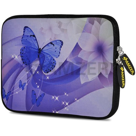 Designer 7.75 Inch Soft Neoprene Sleeve Case Pouch for Alcatel ONETOUCH POP 7 LTE, Acer Iconia One 7, LG G Pad, Amazon Fire 7, Kindle/ Kindle HD 7, RCA 7 Tablet - Butterfly Swish ()