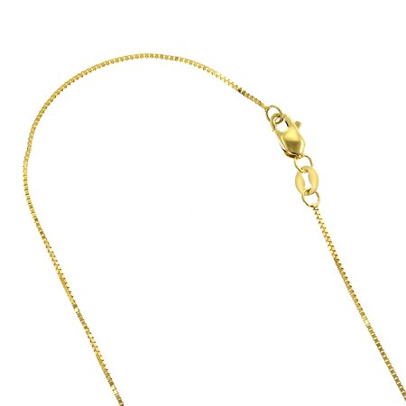 Solid 10K Yellow Gold Box Chain 1mm Wide Necklace with Lobster Claw Clasp (16 inches long)