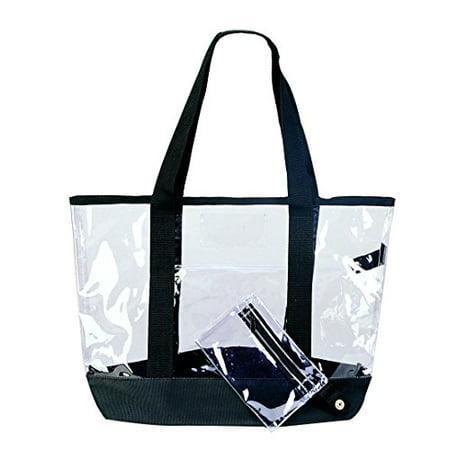 Clear Tote Bag Large See Through Transparent Shopping Tote with Coin ID Pouch 20 Inch