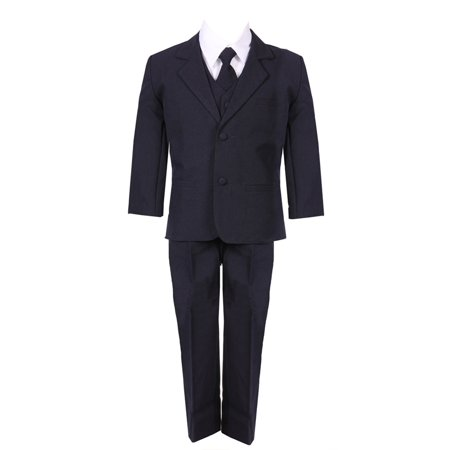 Little Boys Navy Blue 5 Piece Vest Jacket Pants Special Occasion Suit - Boys Suit