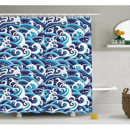 Japanese Wave Shower Curtain, Traditional Eastern Pattern with Waves of Water Foam Splashes, Fabric