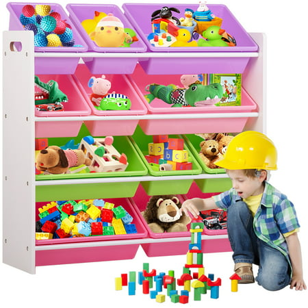 Kids Toy Storage Organizer With Plastic Bins, Storage Box Shelf Drawer