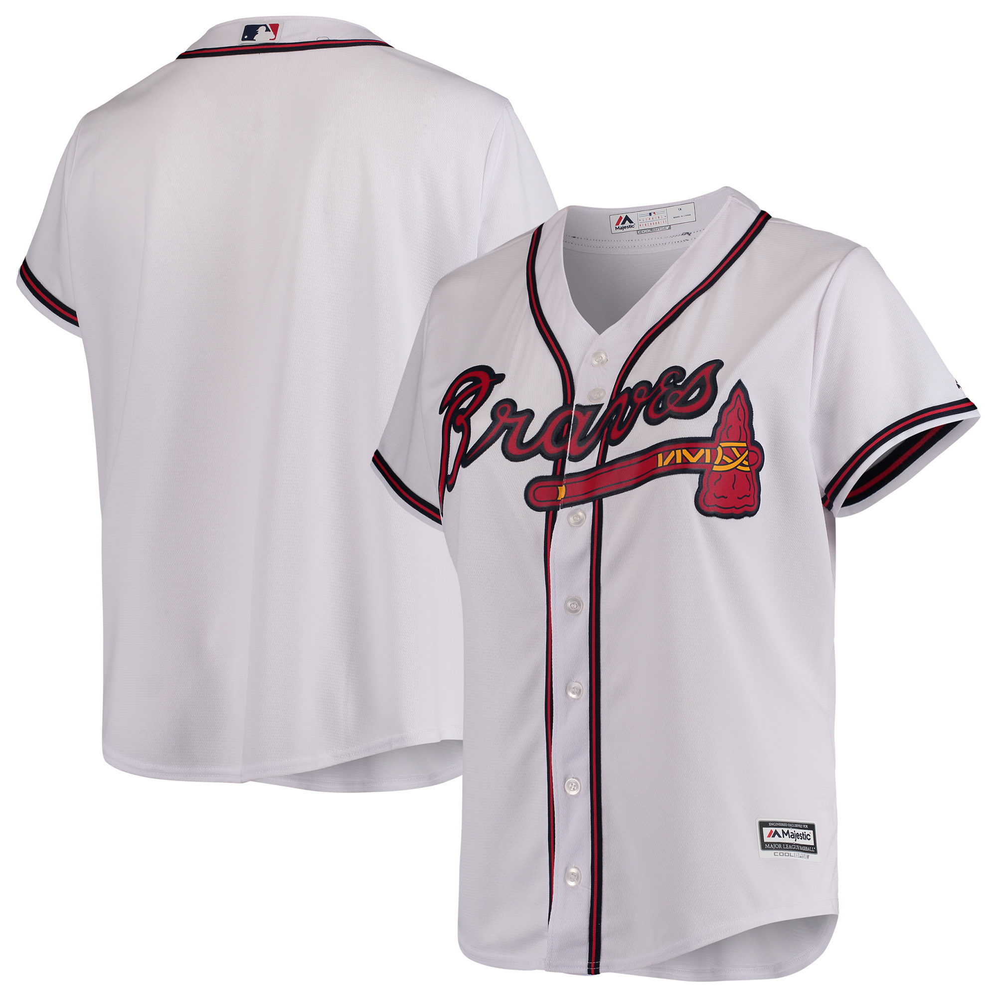 Atlanta Braves Majestic Women's Plus Size Cool Base Team Jersey - White