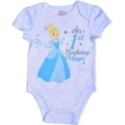 Disney Princess Baby Girls Cinderella Short Sleeve First Birthday Bodysuit Onesie, White, Size 18M