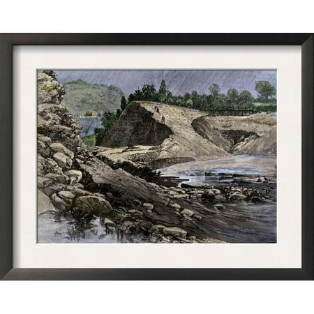 Empty Reservoir Behind the Broken South Fork Dam That Cause... Framed Art Print Wall - South Fork Dam
