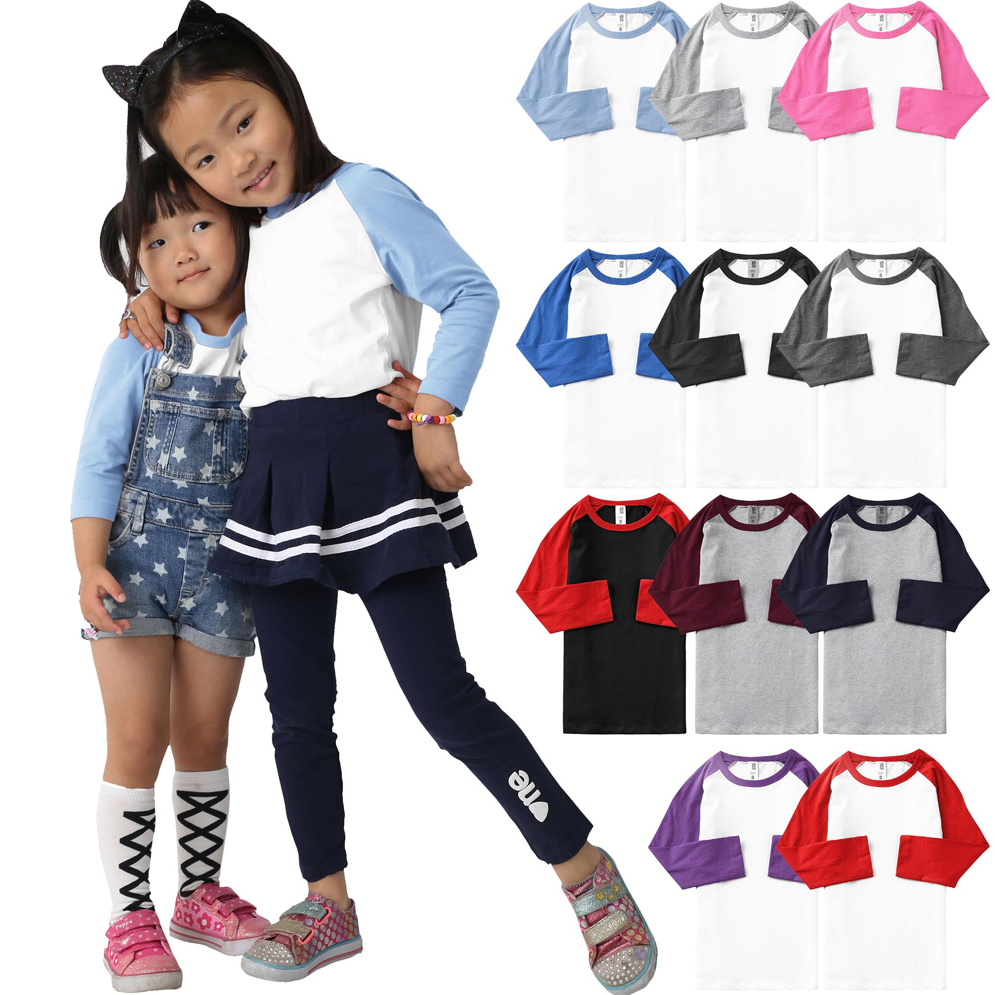 Kids Boys Girls Short Sleeve Raglan Baseball T-Shirt Crew Neck Plain Sport Tee