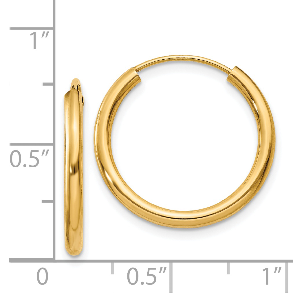 14k Yellow Gold Round Endless 2mm Hoop Earrings Ear Hoops Set Fine Jewelry Gifts For Women For Her - image 1 of 3