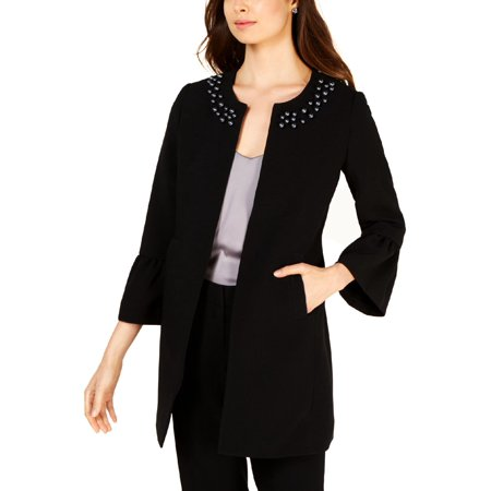 Nine West Womens Embellished Bell Sleeves Open-Front Blazer Puff Sleeve Blazer