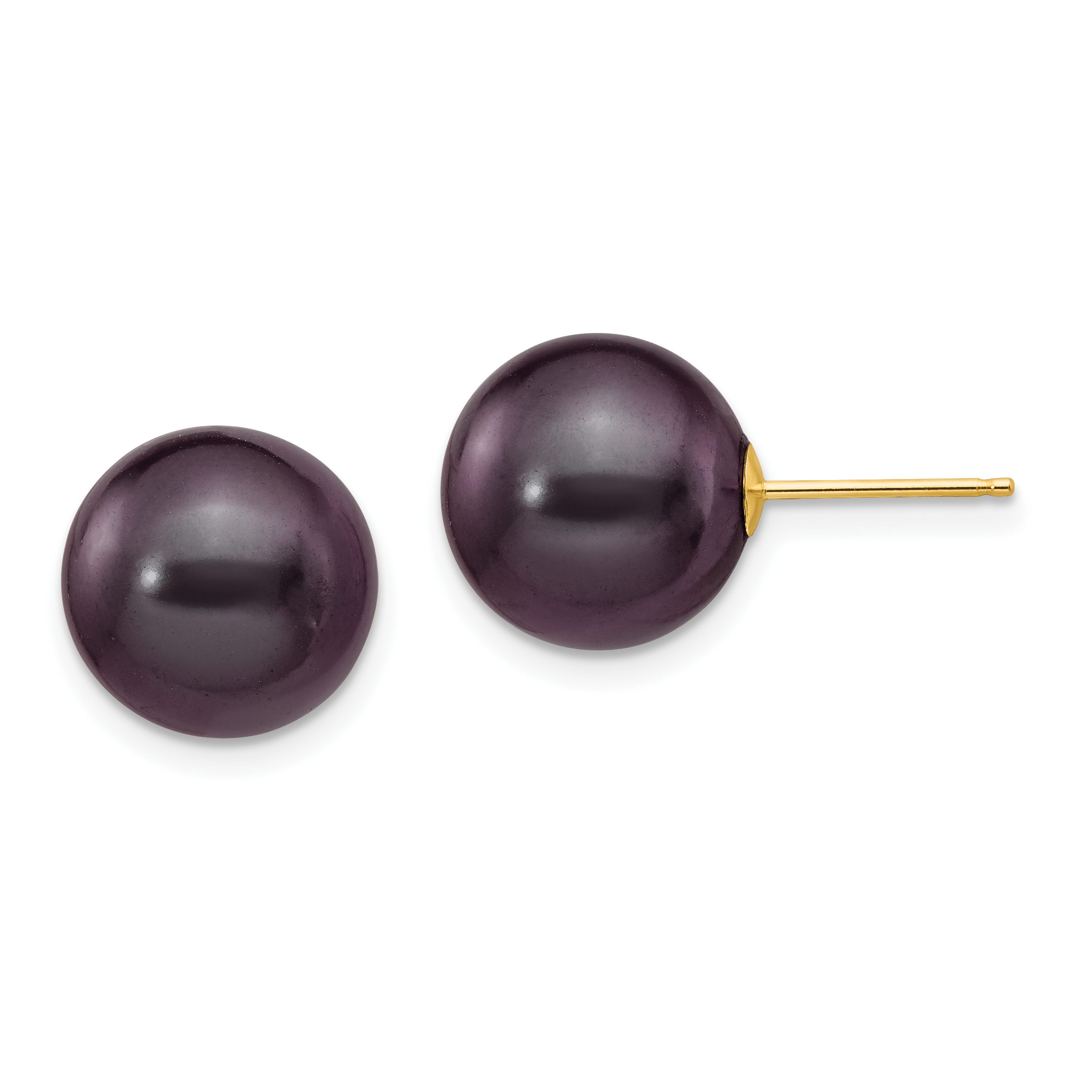 14K Yellow Gold 10-11mm Black Round FW Cultured Pearl Stud Earrings - image 2 of 2