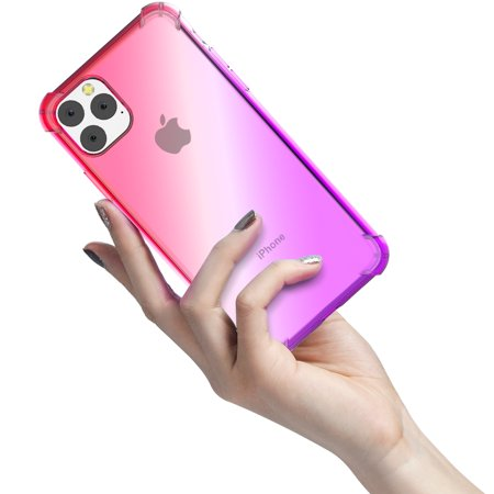TORUBIA Thicken Anti-Scratch Case For iPhone 11 Pro 5.8 Inch Case Soft TPU Resistance Color Gradient Phone Back Cover Pink-purple - image 4 de 9