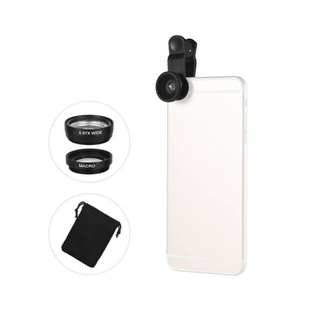Universal Clip Lens Kit 180° Mobile Phone Fisheye Lens 0.67× Wide Angle Lens Macro Lens 3 in 1 with Clip for iPhone Samsung Huawei Smartphone Lens Mobile Photography
