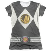 Mighty Morphin Power Rangers Black Ranger Uniform Juniors Sublimation Shirt