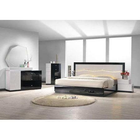 J&M Turin Modern Black & White Lacquer Uniquely Headboard King Bedroom Set  3Pcs