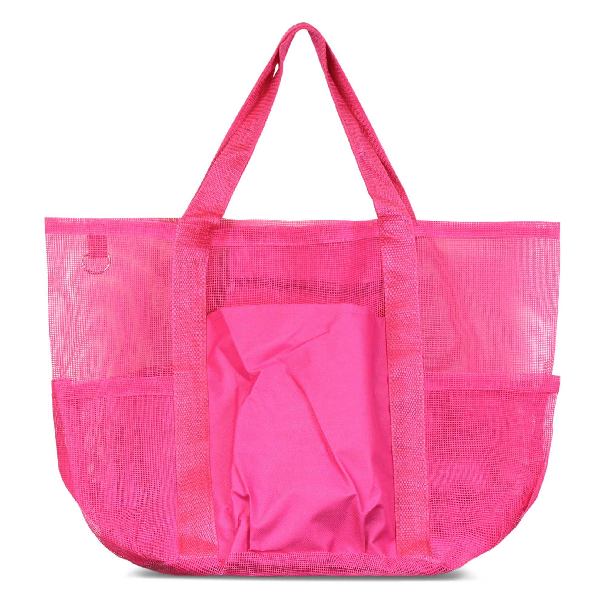 Zodaca Women All Purpose Mesh See Through Tote Carry Bag Handbag for Beach Laundry Grocery Shopping - Pink