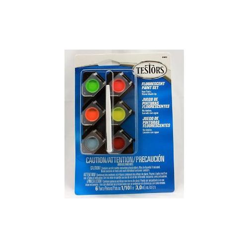 Testors Acrylic Pots 6-Color Fluorescent Paint Set