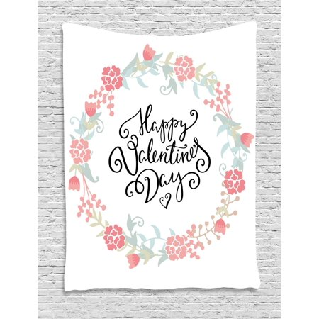 Valentines Day Decor (Valentines Day Decor Tapestry, Floral Flowers Buds Roses Tulips Circled Frame Valentine Hearts, Wall Hanging for Bedroom Living Room Dorm Decor, 40W X 60L Inches, White and Black, by)