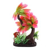 Unique Bargains Aquarium Ceramic Base Plastic Emulation Underwater Coconut Tree Plant Decoration
