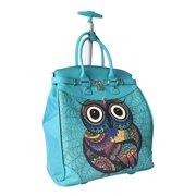 Trendy Flyer Computer/Laptop Rolling Bag 2 Wheel Case Turquoise Owl