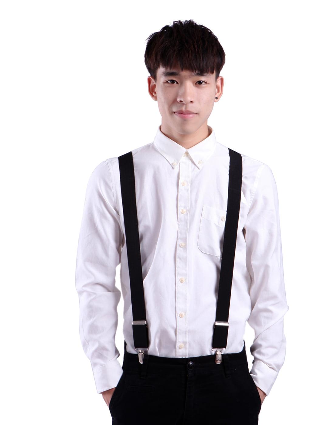 "Made in USA Side Clip Suspenders 1.5/"" XL New Men/'s Blue Denim Adj"