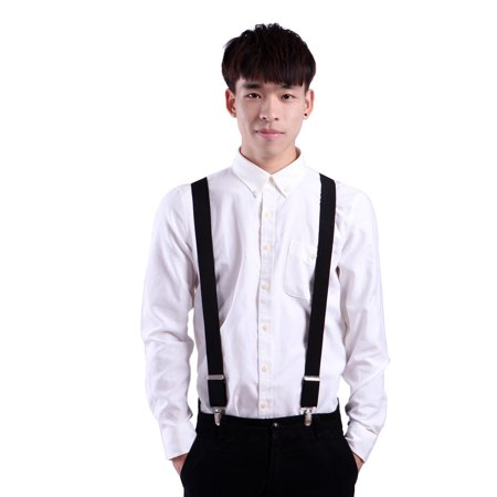 Men's X-Back Clip Suspenders Adjustable Elastic Shoulder Strap - 1.5 Wide (Black)](Suspenders With A Tie)