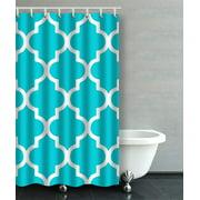 ARTJIA Moroccan Quatrefoil Crisp Turquoise Aqua Bathroom Shower Curtain 48x72 inches