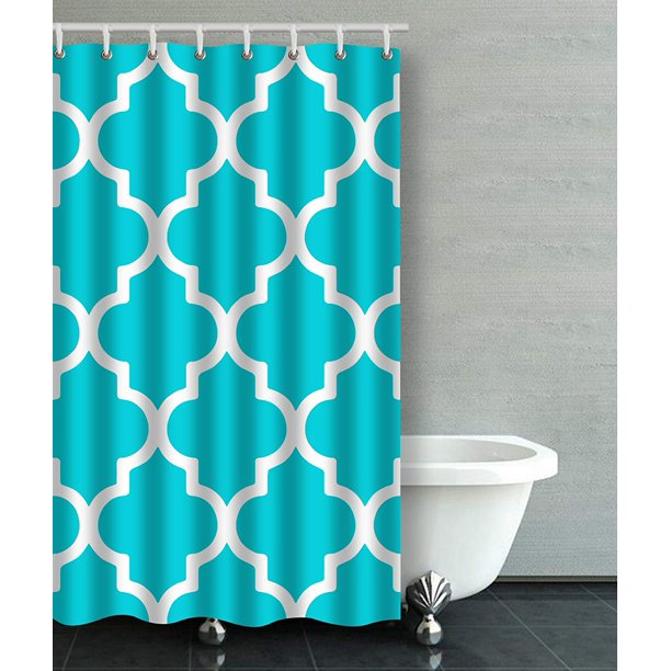 ARTJIA Moroccan Quatrefoil Crisp Turquoise Aqua Bathroom Shower Curtain 48x72 inches