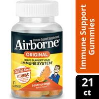 Airborne Immune Support Gummies with Vitamin C, Zesty Orange - 21 Gummies