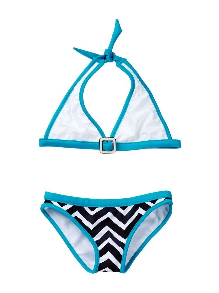 Azul Girls Blue White Jagged Edge Halter 2 Pc Bikini Swimsuit