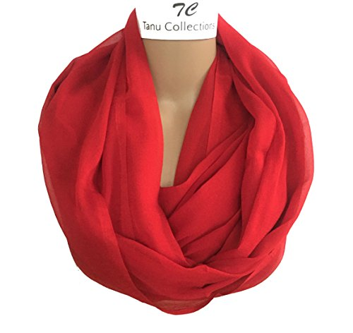 TC Solid Color Soft Lightweight Chiffon Silk Feel Luxury Infinity Scarf India (Red Infinity)