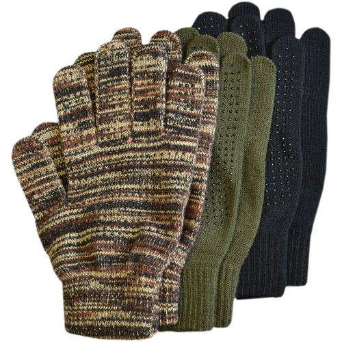 QuietWear 3-Pair Pack Grip Dot Assorted Gloves, Assorted