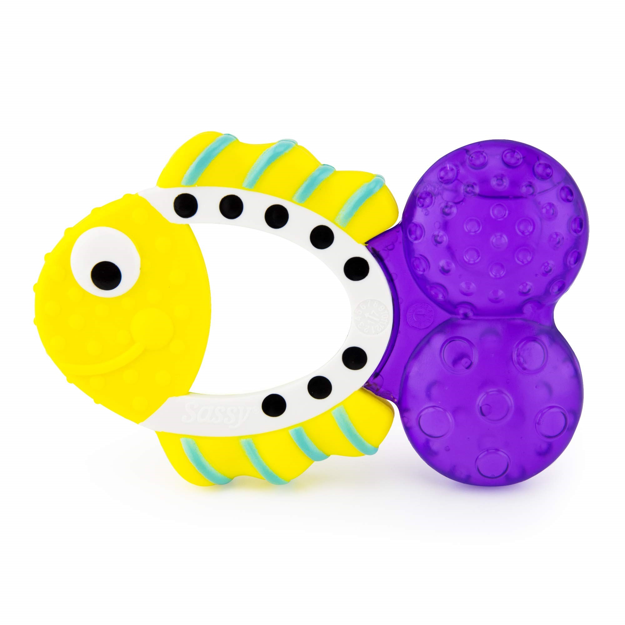 Sassy Teething Tail Fish Baby Sore Gums Texture Water Fill Easy Grip Teether 3+m