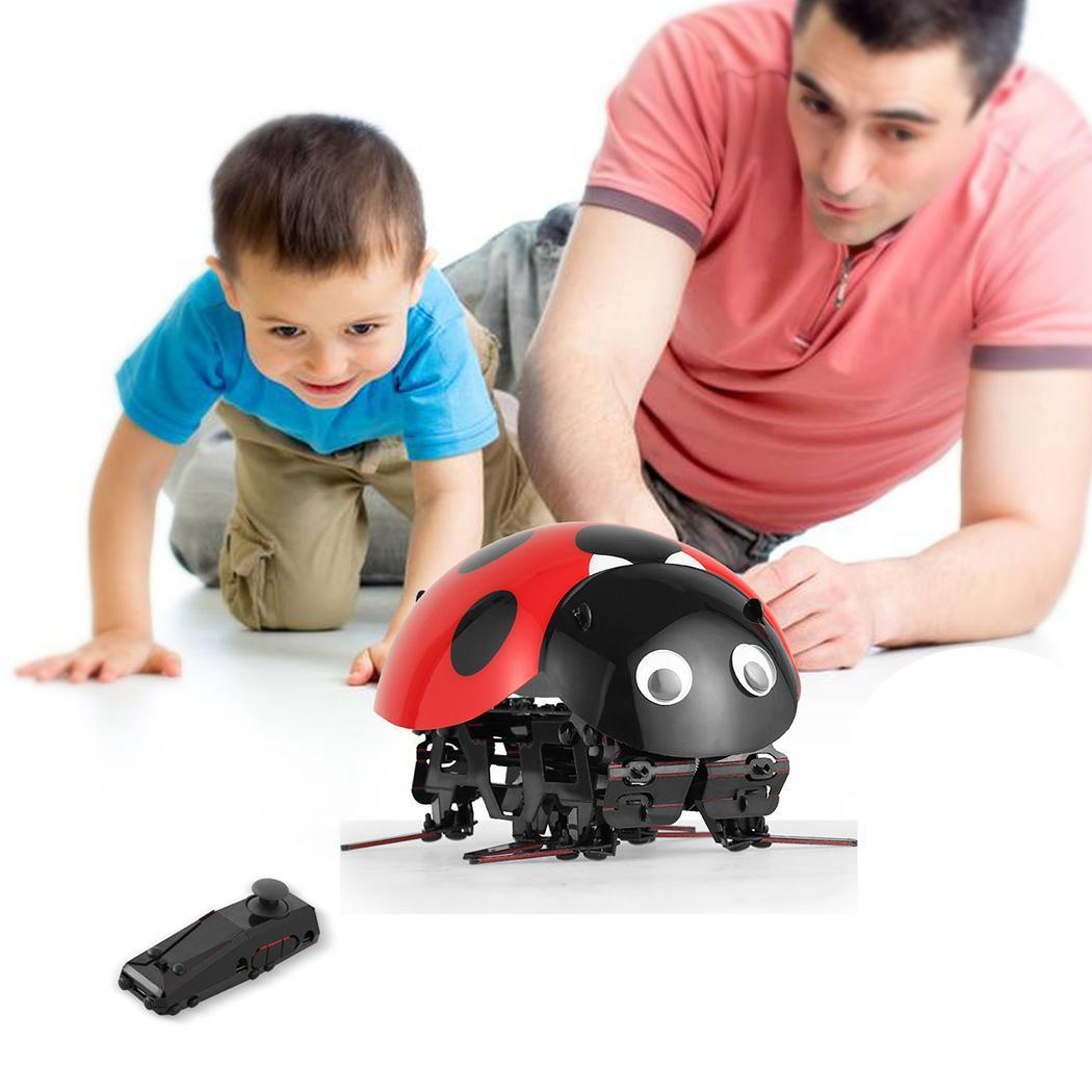 Birthday Gift Remote Control Smart Ladybug Insect Robot Toy DIY Robot Kit HITC