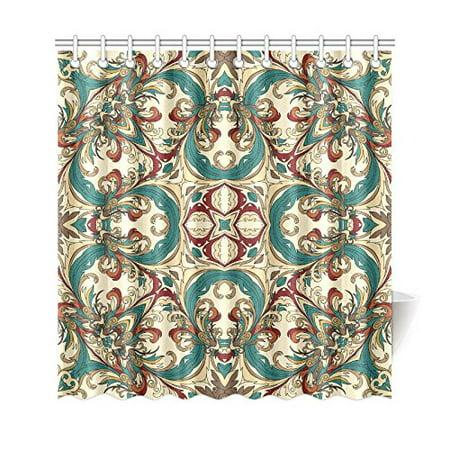 GCKG Baroque Geometric Mandala Shower Curtain, Ethnic Tribal Polyester Fabric Shower Curtain Bathroom Sets 66x72 Inches - image 1 de 3