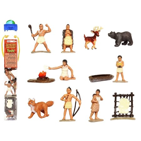 Powhatan Indians TOOB With 12 Historical Figurine Toys, Including a Camp Fire, Powhatan Woman Cooking, a Fox, Stretched Deer Hide, Bear,,WalmartES IN CONVENIENT.., By Safari Ltd