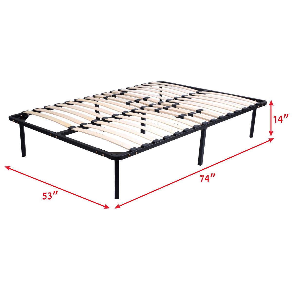Wood Slats Metal Bed Frame Platform Mattress Foundation