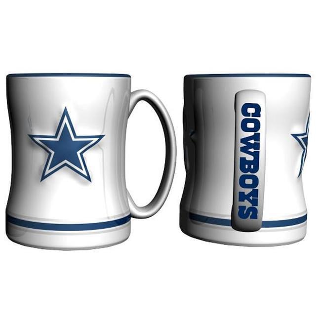 Dallas Cowboys Coffee Mug - 14oz Sculpted Relief - White