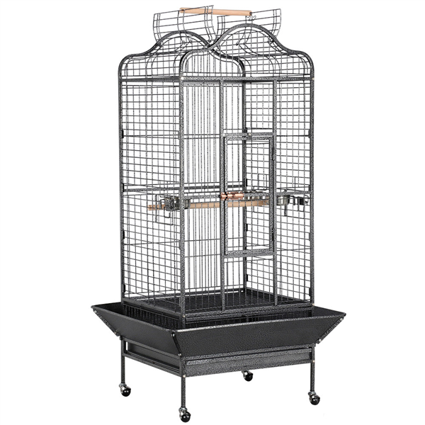 Yaheetech 63''H Open Playtop Extra Large Bird Cage Parrot Cage for African Grey Sun Conures Parakeets Cockatiels, Large Rolling Metal Pet Cage with Stand & Open Roof