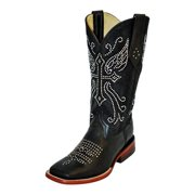 Ferrini Western Boots Womens Cowboy Rhinestone S Toe Black 82693-04