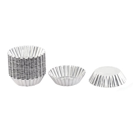 20pcs/Pack, 2 Pack, Home Stainless Steel Flower Shaped Cake Egg Tart Pudding Mold Baking Cup Silver