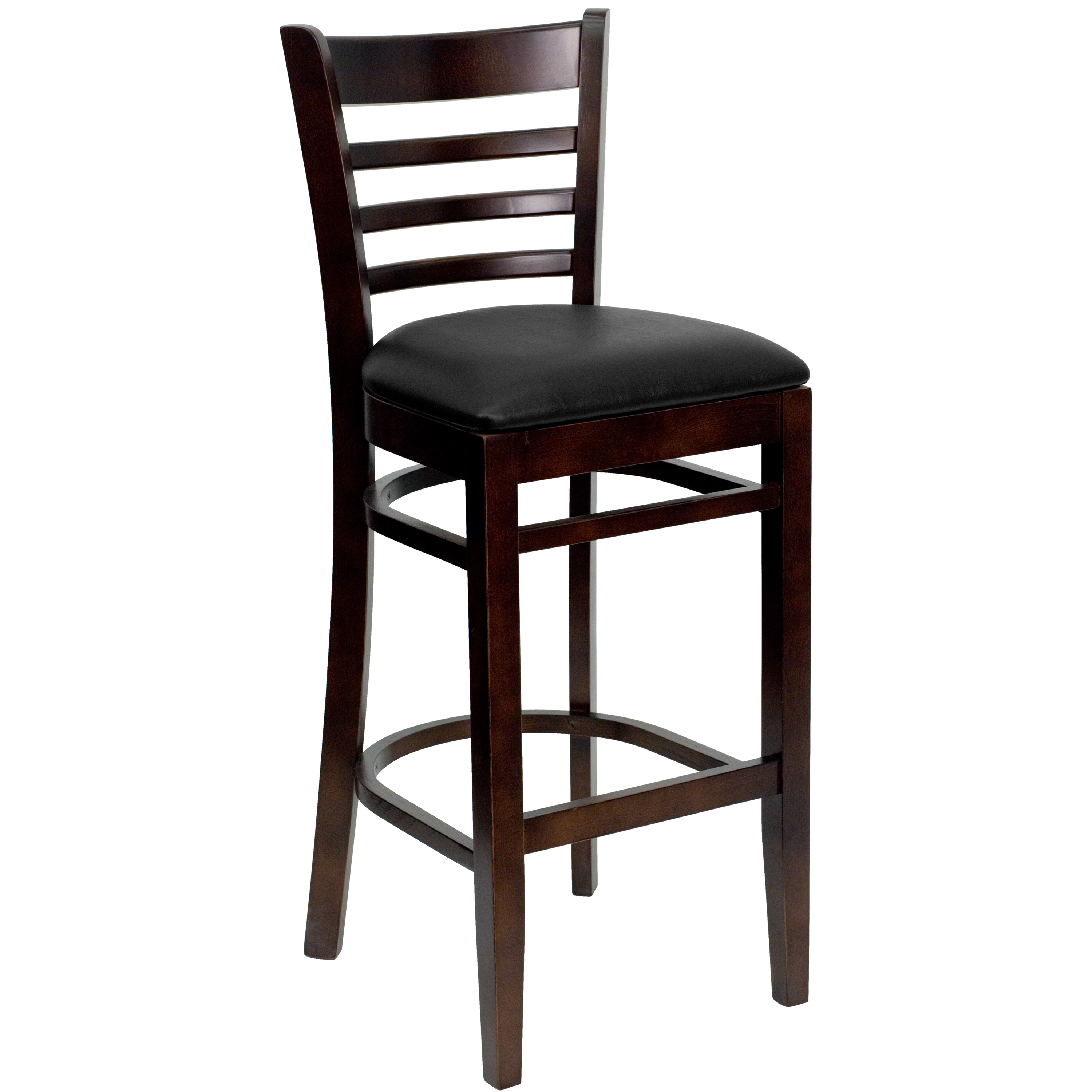"Ladder Back Bar Stool 31"", Walnut and Black"