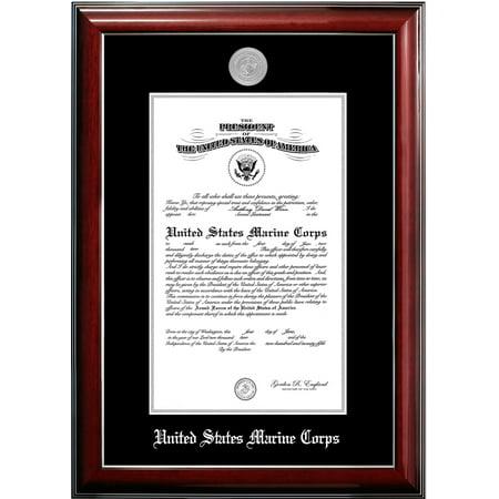 Silva Marine (Patriot Frame's Marine 11x14 Certificate Classic Mahogany Frame with Silver Medallion )