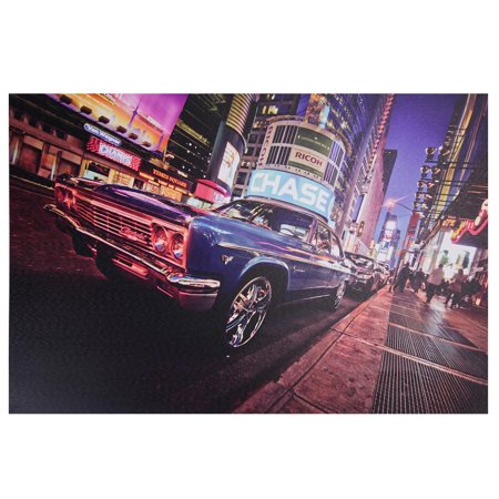 LED Lighted NYC Times Square with Classic Chevrolet Car Canvas Wall Art 15.75